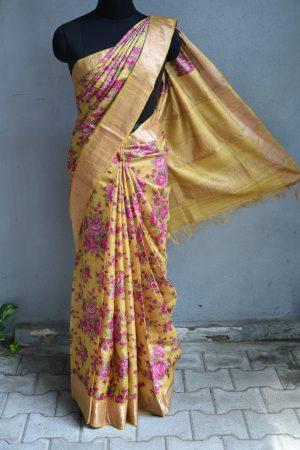 Mustard and pink floral print zari border tussar saree 1
