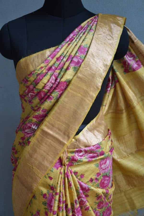 Mustard and pink floral print zari border tussar saree 2
