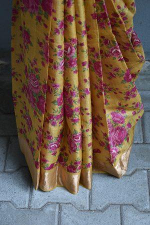 Mustard and pink floral print zari border tussar saree 2