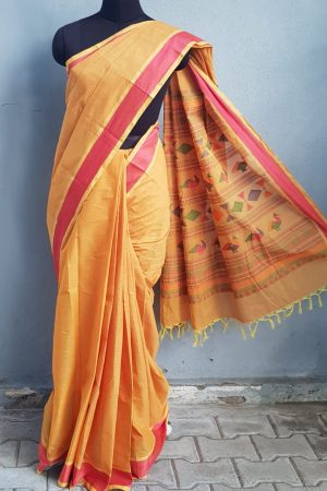 Mustard kanchi cotton saree 1