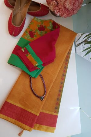 Mustard kanchi cotton saree