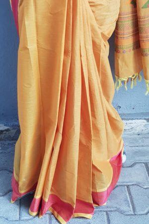 Mustard kanchi cotton saree 4