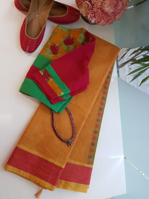 Mustard kanchi cotton saree