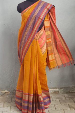 Mustard long border ganga jamuna kanchi cotton saree 1