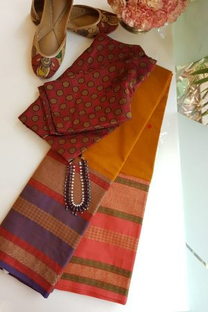 Mustard long border ganga jamuna kanchi cotton saree