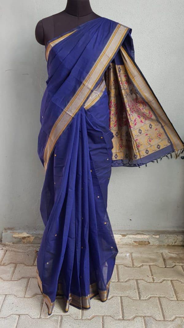 Navy blue kanchi cotton saree with buttis 1