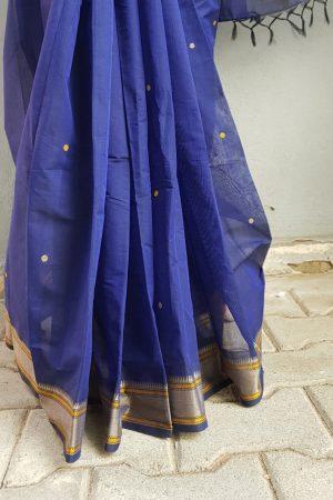 Navy blue kanchi cotton saree with buttis 2