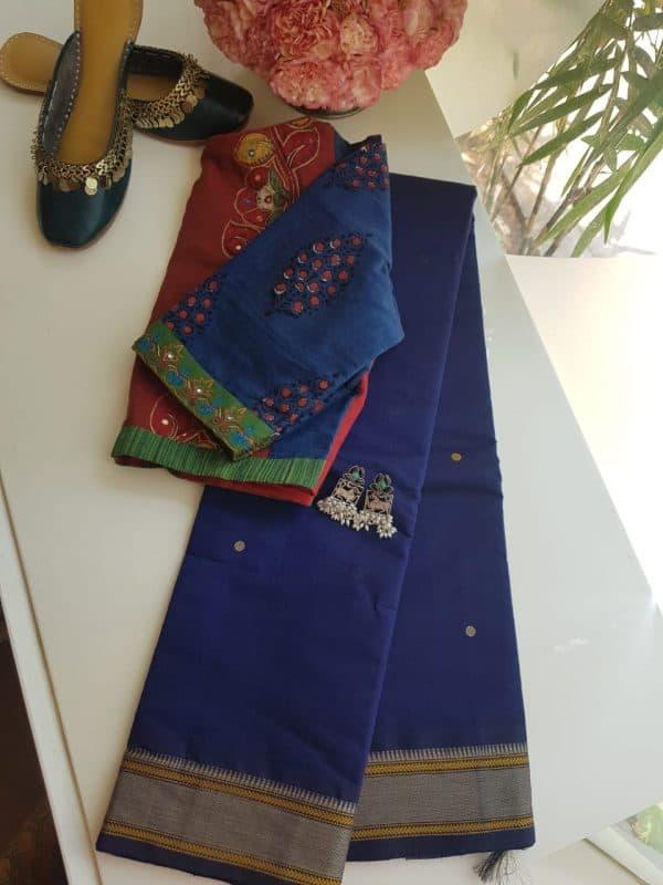Navy blue kanchi cotton saree with buttis
