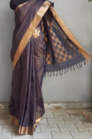 Navy blue kanchi cotton saree with copper zari 1