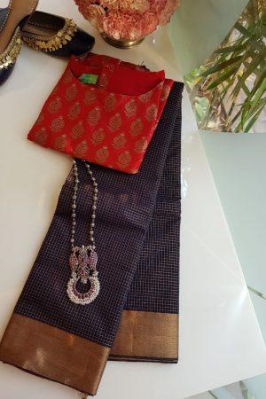 Navy blue kanchi cotton saree with copper zari