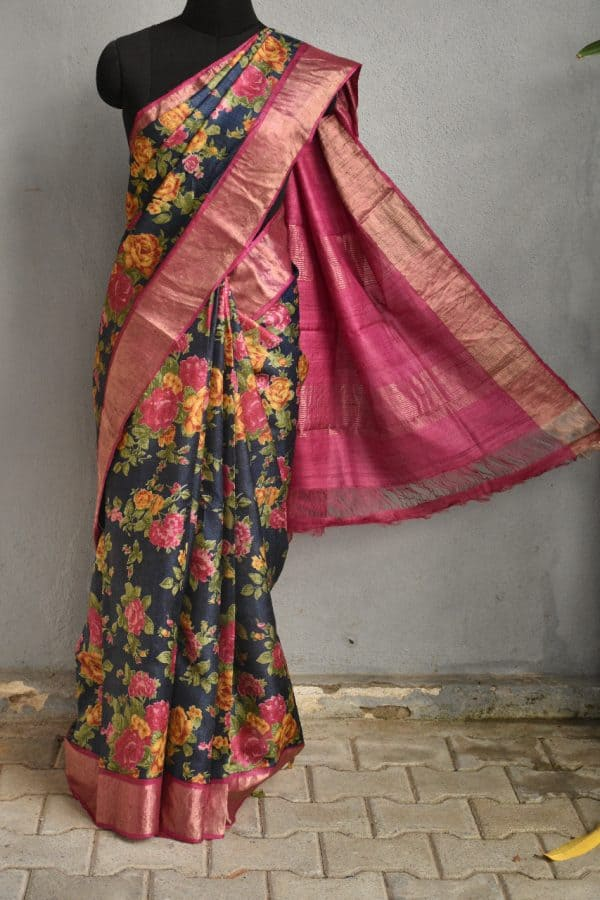 Navy blue tussar sari with pink zari border and floral prints 1