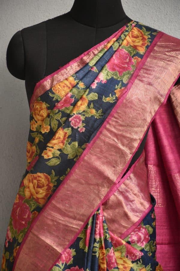 Navy blue tussar sari with pink zari border and floral prints 2