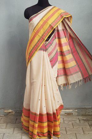 Off white long border ganga jamuna kanchi cotton saree 1