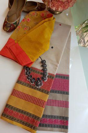 Off white long border ganga jamuna kanchi cotton saree