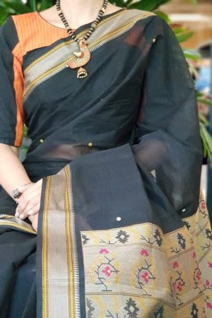 Orange and black cotton blouse 2