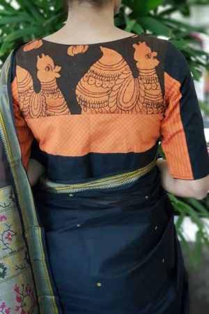 Orange and black cotton blouse