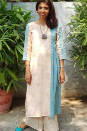 Peach blue chandheri kurta