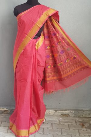 Peach kanchi cotton saree with thread border 1