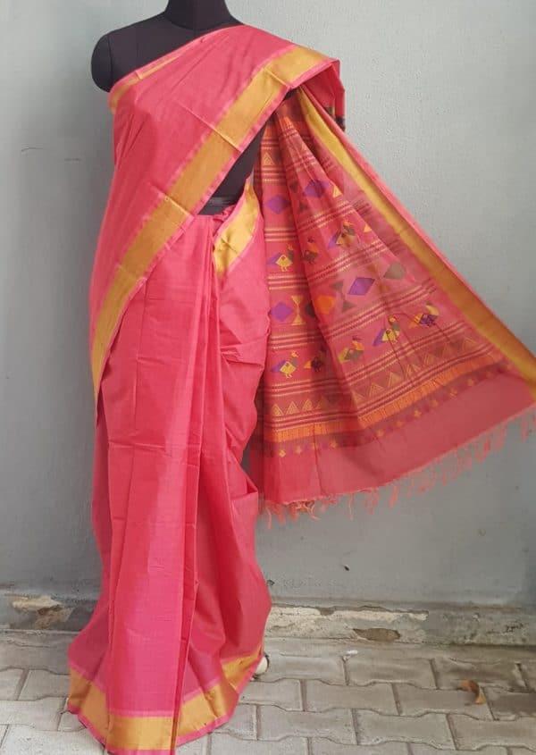 Peach kanchi cotton saree with thread border 1