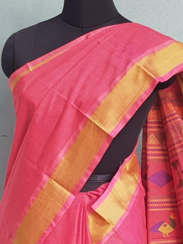Peach kanchi cotton saree with thread border 2