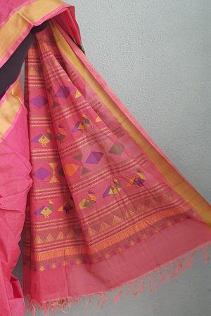 Peach kanchi cotton saree with thread border 3