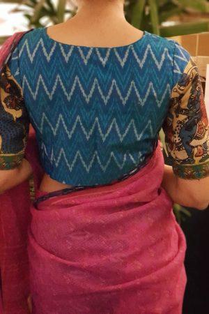Peacock blue ikat blouse with kalamkari back