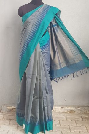 Peacock blue kanchi cotton saree with jacquard body 1