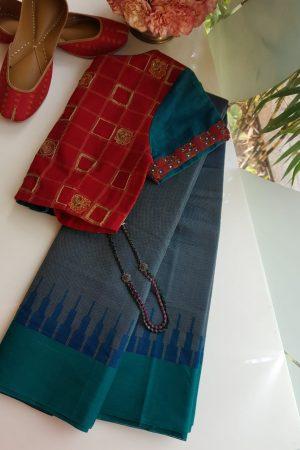 Peacock blue kanchi cotton saree with jacquard body