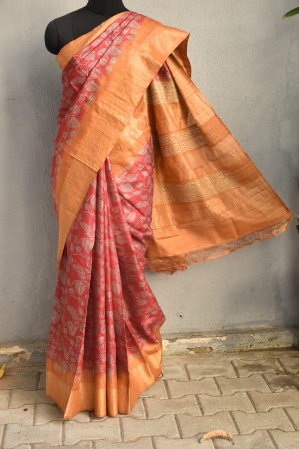 Pink and mustard zari border tussar sari 1