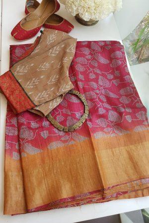 mustard zari border tussar sari