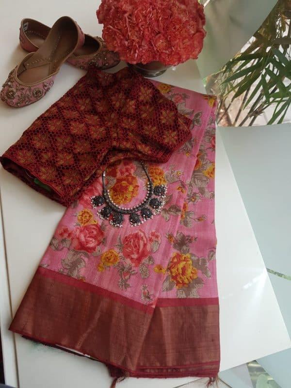Pink floral print zari border tussar sari