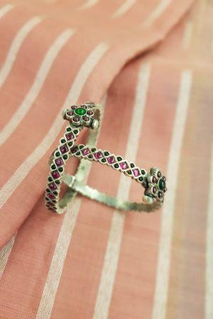 Pink green kemp silver bangle