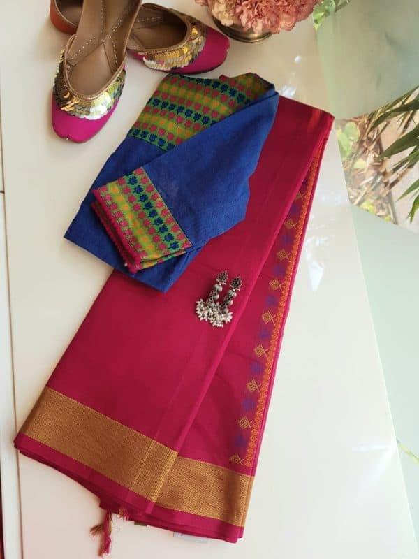 Pink kanchi cotton saree with mustard thread border