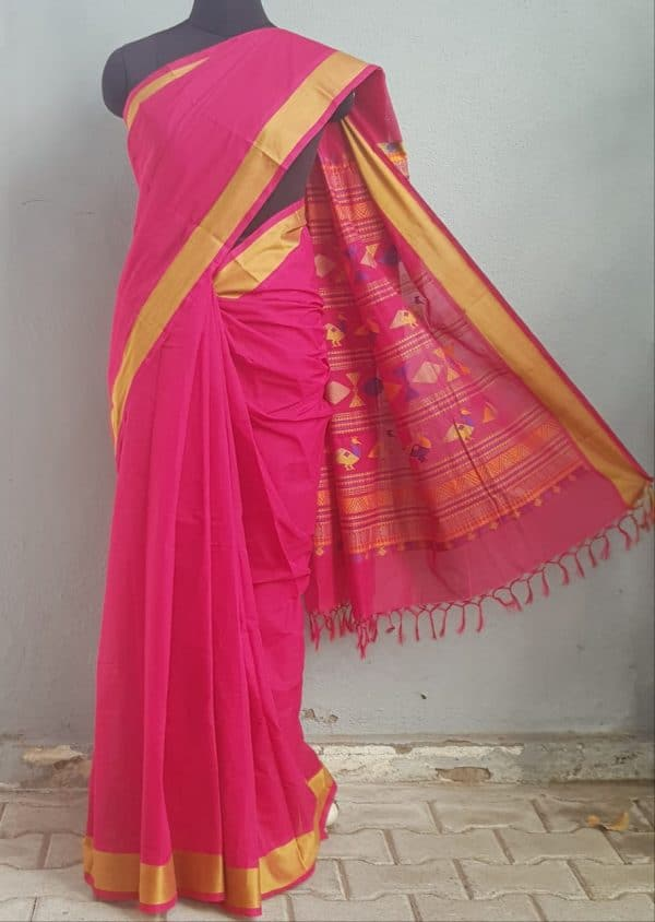 Pink kanchi cotton saree with thread border 1