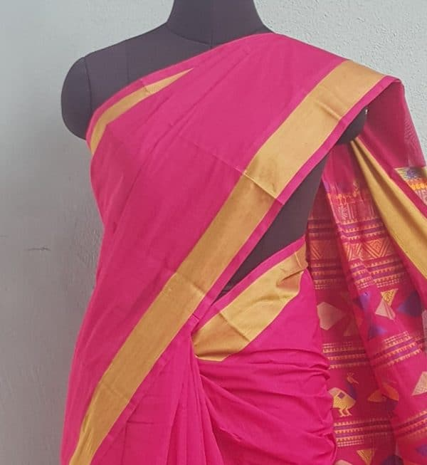 Pink kanchi cotton saree with thread border 2