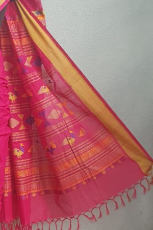 Pink kanchi cotton saree with thread border 3