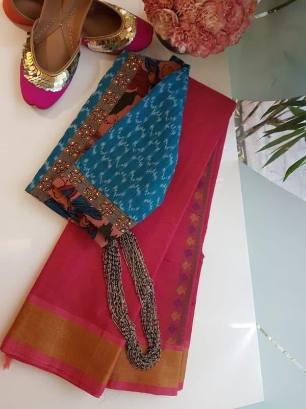 Peach kanchi cotton saree with thread border