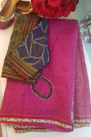 Pink kota doriya saree with buttis