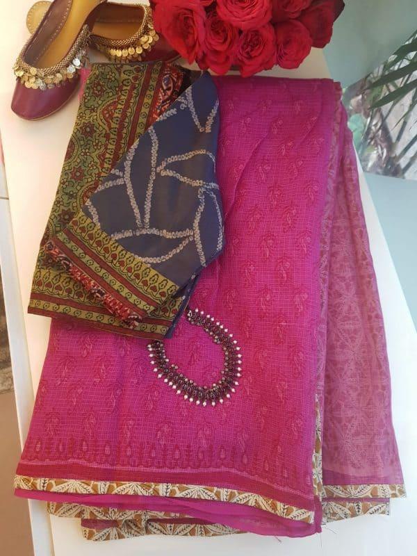 Pink kota doriya saree with buttis