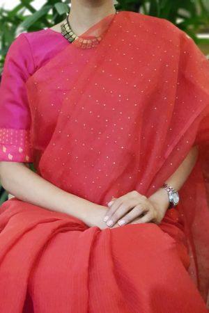 Pink patchwork silk blouse
