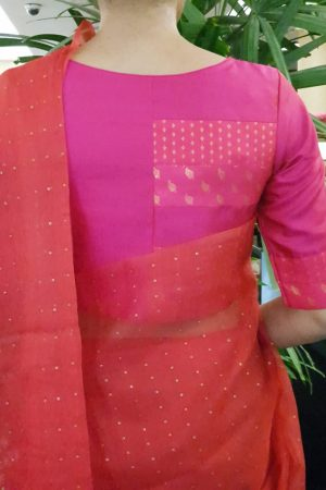 Pink patchwork silk blouse back