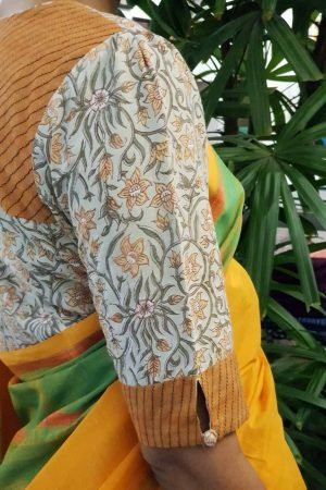 Printed cotton blouse mustard sleeve