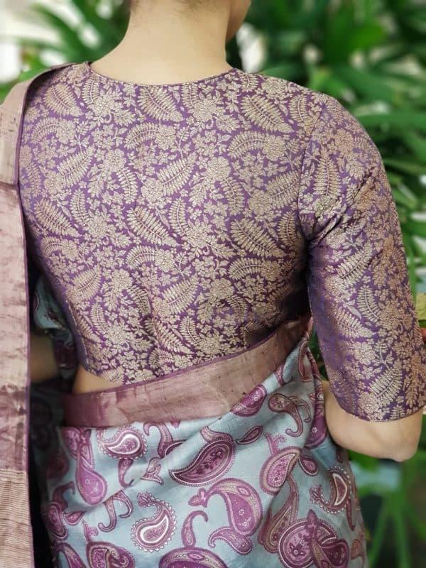 Purple brocade silk blouse