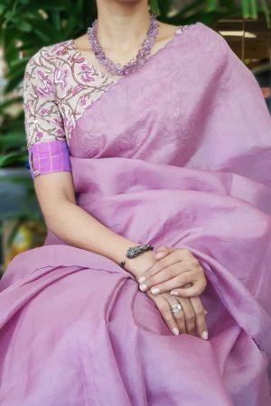 Purple cotton floral print blouse 4