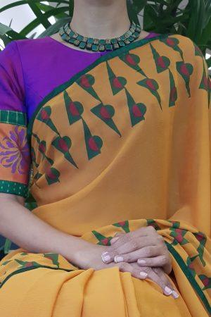 Purple mustard silk blouse