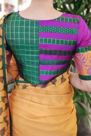 Purple mustard silk blouse back