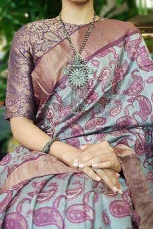 Purple silk brocade blouse