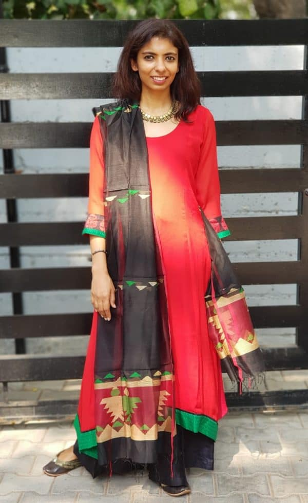 Red chiffon kurta and chandheri dupatta
