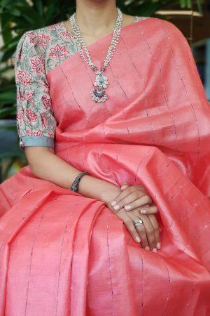 Red floral print cotton blouse 2