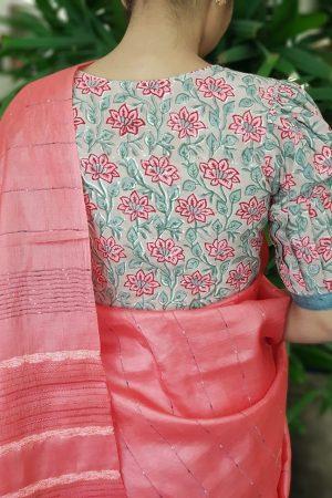 Red floral print cotton blouse